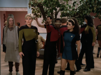 Star Trek-Deanna-Troi-wearing-a-skirt-uniform