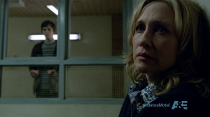Norma giving Norman voluntary silent treatment.  He will someday take out the 'voluntary' part that equation.