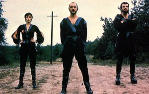 Sarah Douglas, Terence Stamp, and Jack O'Halloran as Ursa, Zod, and Non in Superman II.