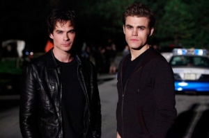 You see how tough Elena has it.  Choosing between these two must be such hell…or fun.  Ian Somerhalder as Damon, Paul Wesley as Stefan. Photo: Quantrell Colbert/The CW ©2009 The CW Network, LLC. All Rights Reserved.