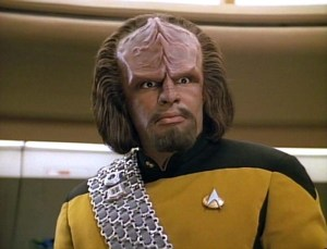 Next Generation and all spin-offs' version of Klingons.  This is Worf.  He is not a merry man.