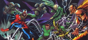 The sinister six fighting Spider-Man in the comics.