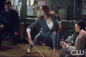 "Plus, as a nod to the ""Laurel as Black Canary"" fans there was this familiar pose during combat"