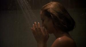 Kari Keegan's character crying in the shower