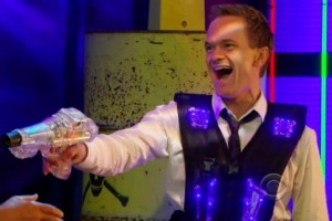 Barney Stinson playing lasertag