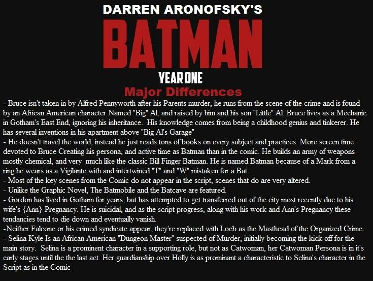 Darren Aronofsky's Batman Year One Major Differences