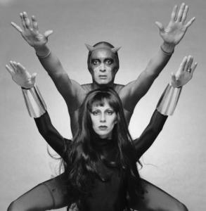 Model, actress, musician and writer Angela Bowie as Black Widow with actor Ben Carruthers (1936 - 1983) as comicbook superhero Daredevil in a publicity still for a proposed TV series, 1975. (Photo by Terry O'Neill/Hulton Archive/Getty Images)