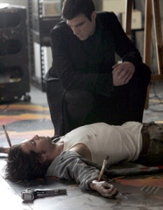 """HEROES -- """".07 Percent"""" Episode 119 -- Pictured: (l-r) Santiago Cabrera as Isaac Mendez, Zachary Quinto as Sylar -- NBC Photo: Chris Haston"""