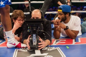 CREED, cinematographer Maryse Alberti (left), director Ryan Coogler (right), on set, 2015. ph: Barry Wetcher/©Warner Bros.