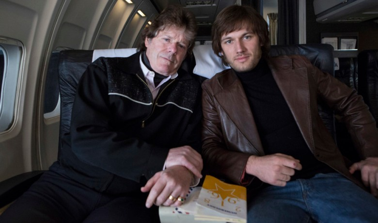 Jerry Schilling (left) and Alex Pettyfer (righ) on the set of ELVIS & NIXON, an Amazon Studios / Bleecker Street release.