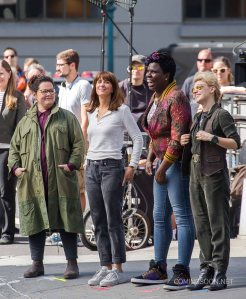 "51854885 Melissa McCarthy, Kristen Wiig, and Kate McKinnon spotted on the set of ""Ghostbusters"" in New York City, New York on September 19, 2015. The film is said to be released in 2016. Melissa McCarthy, Kristen Wiig, and Kate McKinnon spotted on the set of ""Ghostbusters"" in New York City, New York on September 19, 2015. The film is said to be released in 2016. FameFlynet, Inc - Beverly Hills, CA, USA - +1 (818) 307-4813"